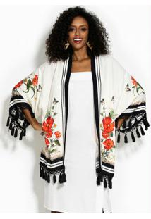 Kimono Franja Selva Flora Branco