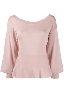 Pinko Blusa De Tricô Com Peplum - Rosa