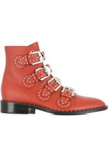 Givenchy Ankle Boot Elegant De Couro Com Fivela - Marrom