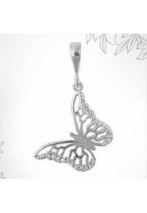 Pingente De Borboleta Florenzza Em Prata 950 E Zirconias Feminino - Feminino-Prata