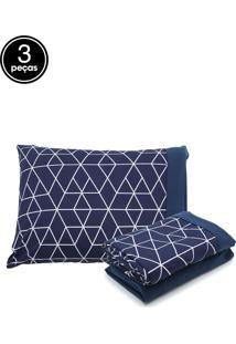 Jogo De Cama 3Pçs Solteiro Lynel Geometric Blue Malha