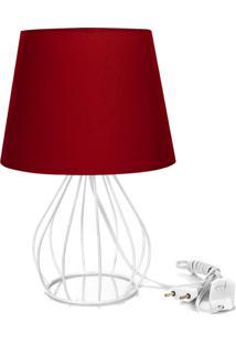 Abajur Cebola Dome Vermelho Com Aramado Branco - Vermelho - Dafiti
