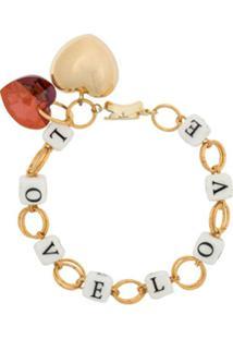 Timeless Pearly Love Chain-Link Bracelet - Dourado