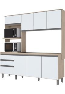 Cozinha Compacta 8 Portas 2 Gavetas Be112 Fendi E Branco Briz