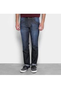 Calça Jeans Slim Biotipo Lavagem Estonada Masculina - Masculino-Azul Escuro