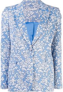 Alice+Olivia Blazer Macey Com Estampa Floral - Azul