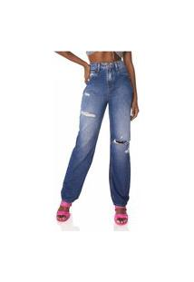 Calça Jeans Denim Zero Dad Pants Destroyed