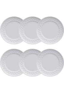 Conjunto Pratos Rasos 06 Peças Plissan - Germer - Branco