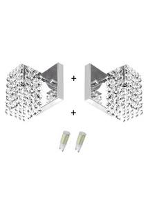 2X Arandelas Cristal Leg. Clearcast + Lâmpadas 6000K Branca