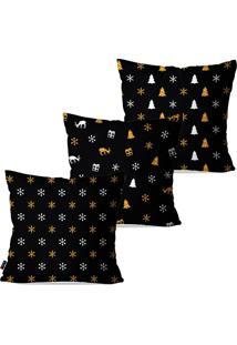 Kit Com 3 Capas Para Almofadas Pump Up Decorativas Natalinas Flocos De Neve Branco E Dourado 45X45Cm