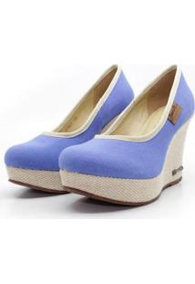 Scarpin Barth Shoes Land Sl Juta Nat Lona Feminino - Feminino-Azul Turquesa