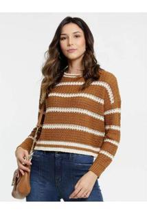 Suéter Cropped Tricô Listrado Marisa Feminino - Feminino-Caramelo