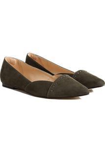 Sapatilha Couro Shoestock Bico Fino Rebites Feminina - Feminino-Verde Escuro