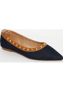 Sapatilha Jeans Com Rebites- Azul Escuro & Nudecek