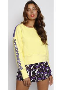 8649ac2c7a ... Blusão Em Moletinho Bicolor - Amarelo Claro & Roxotjama