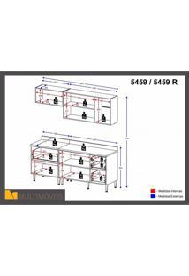 Cozinha Completa 5 Módulos 7 Portas Calábria Multimóveis Nogueira/Branco Texturizado