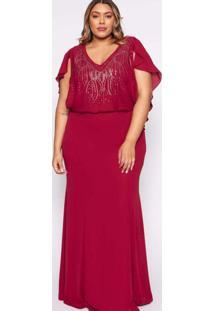 Vestido Almaria Plus Size Pianeta Longo Renda Roxo