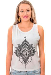 Regata Cavada Shop225 Flor De Lotus Branca