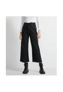 Calça Pantacourt Jeans Com Cordão Para Amarração Na Cintura   Blue Steel   Preto   36