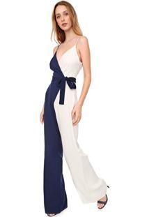 Macacão Calvin Klein Pantalona Liso Branco/Azul-Marinho