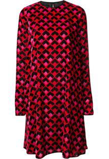 Rochas Vestido Com Estampa Geométrica - Vermelho