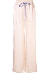 Off-White Calça Pantalona Com Logo - Rosa