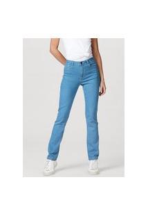 Calça Jeans Feminina Modelagem Reta Em Algodão E Elastano