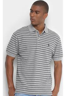 Camisa Polo U.S. Polo Assn Piquet Listrada Masculina - Masculino-Mescla