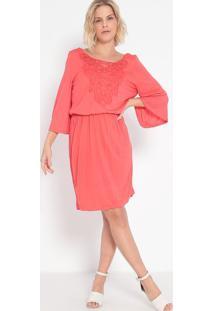 Vestido Com Renda & Tiras- Coral- Malweemalwee