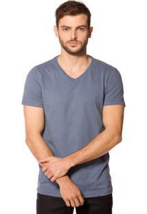 Camiseta Básica 4Me Gola V Azul