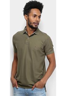Camisa Polo Tommy Hilfiger Regular Logo Bordado Masculina - Masculino-Verde Militar
