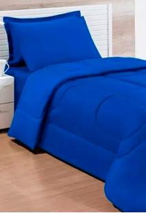 Kit Colcha Dupla Face Solteiro 4Pçs Azul Cotex