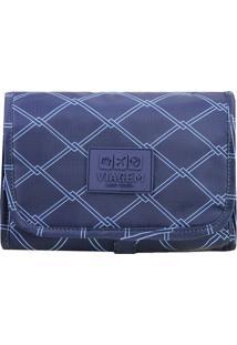 Nécessaire 3 Em 1- Azul Marinho & Azul Claro- 18X23,Jacki Design