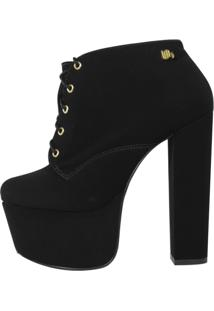 Ankle Boot Salto 15 Nobuck Preto Week Shoes Cano Curto.