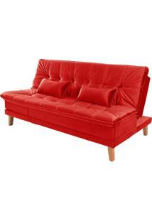 Sofá Cama Reclinável 2 Lugares Sala De Estar Quarto 192Cm Lady Suede Vermelho - Gran Belo - Tricae