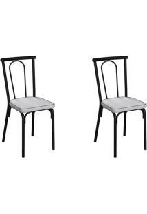 Conjunto Com 2 Cadeiras Albury Branco E Preto