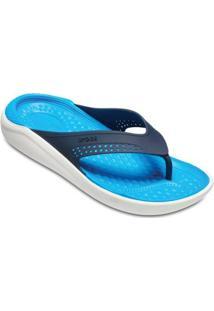 Chinelo Crocs Literide Flip - Unissex-Azul+Branco