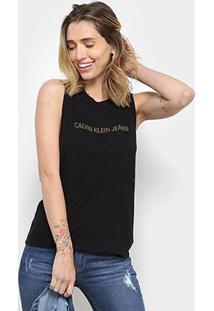 Blusa Calvin Klein Sm Logo Feminina - Feminino-Preto