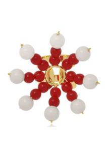 Anel Le Diamond Sol Resinas Vermelho E Branco