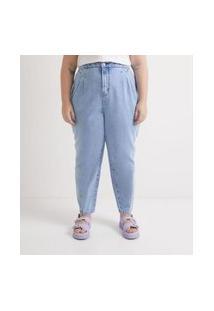 Calça Baggy Jeans Lisa Com Cós Pespontado Curve & Plus Size Azul