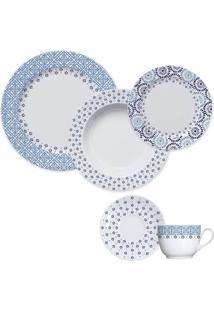 Aparelho De Jantar 20 Peças Lisboa - Germer - Branco / Azul