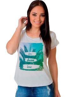 Camiseta Shop225 Live Dream Love Branco - Branco - Feminino - Dafiti
