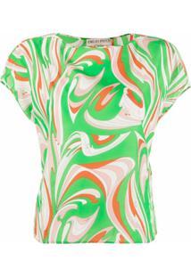 Emilio Pucci Camiseta De Algodão Com Estampa Abstrata - Verde
