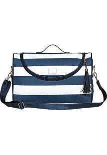 Bolsa Manhatan - Azul Escuro & Branca- 33X48X7Cm