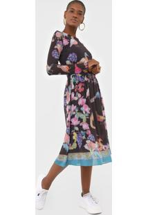 Vestido Desigual Midi Estampado Marrom - Kanui