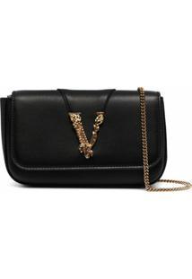 Versace Bolsa Transversal Vitello Mini - Preto