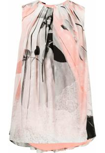 Alexander Mcqueen Layered Graphic-Print Blouse - Rosa