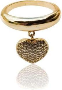 Anel Liso Com Coração Cravejado - Feminino-Dourado