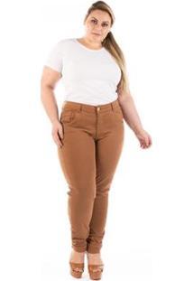 Calça Jeans Plus Size Confidencial Extra Slin Fit Elastano Feminina - Feminino-Marrom