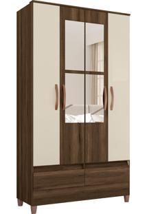 Guarda Roupa Ametista C/ Espelho 4 Portas E 2 Gavetas Externas Cedro/Off White Albatroz